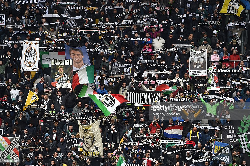 Fans of Juventus FC show their support during the Serie A match between Juventus FC and Carpi FC at Juventus Arena on May 1, 2016 in Turin, Italy.
