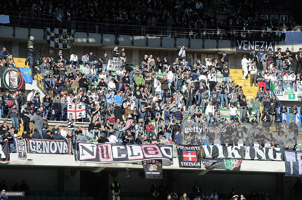 Fans of Juventus show their support during the Serie A match between AC Chievo Verona and Juventus FC at Stadio Marc'Antonio Bentegodi on February 3, 2013 in Verona, Italy.