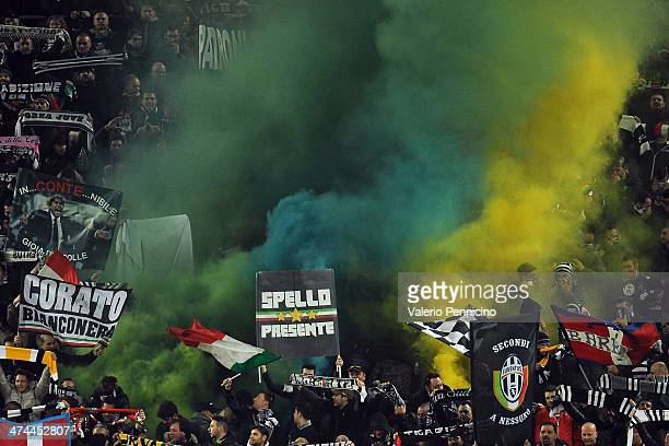 Fans of Juventus show their support during the Serie A match between Juventus and Torino FC at Juventus Arena on February 23 2014 in Turin Italy