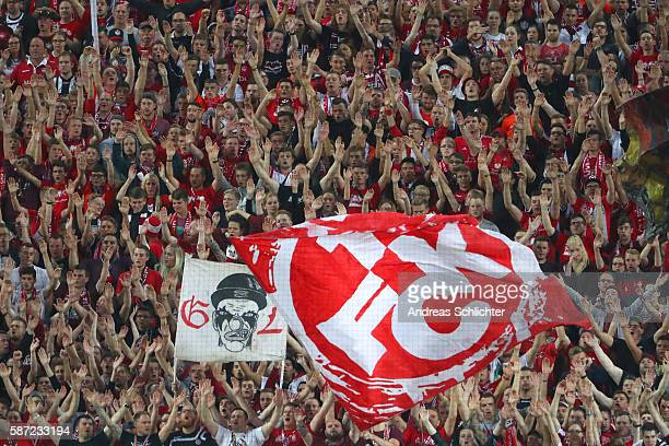 fans of Kaiserslautern during the Second Bundesliga match between 1 FC Kaiserslautern and Hannover 96 at FritzWalterStadion on August 5 2016 in...