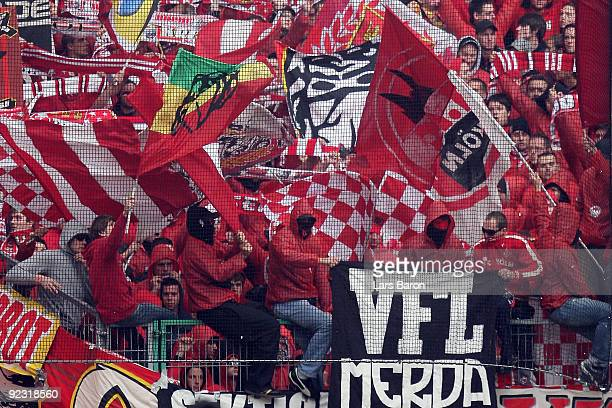 Fans of Koeln are seen during the Bundesliga match between Borussia Moenchengladbach and 1 FC Koeln at Borussia Park Stadium on October 24 2009 in...