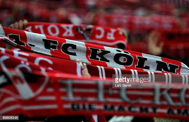 Fans of Koeln celebrate during the Bundesliga match between 1 FC Koeln and Hannover 96 at the RheinEnergie stadium on November 7 2008 in Cologne...