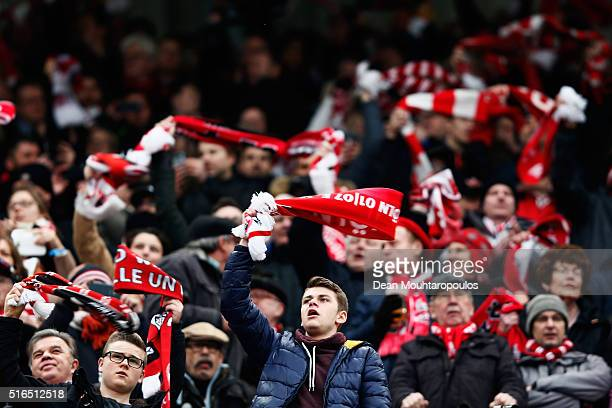 Fans of koeln cheer during the Bundesliga match between 1 FC Koeln and FC Bayern Muenchen held at RheinEnergieStadion on March 19 2016 in Cologne...
