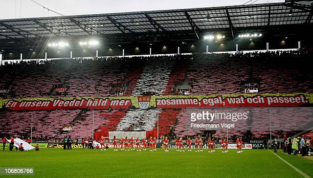 Fans of Koeln during the Bundesliga match between 1 FC Koeln and Borussia M'gladbach at RheinEnergieStadion on November 13 2010 in Cologne Germany