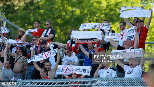 Fans of Koeln during the Third League Playoff Leg Two between FC Carl Zeiss Jena and Viktoria Koeln on June 01 2017 at ErnstAbbeSportfeld in Jena...