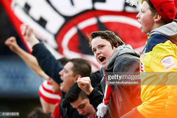 Fans of koeln show their support during the Bundesliga match between 1 FC Koeln and FC Bayern Muenchen held at RheinEnergieStadion on March 19 2016...