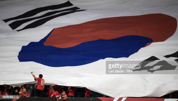 Fans of Korea are seen during the FIFA U20 World Cup Korea Republic 2017 group A match between England and Korea Republic at Suwon World Cup Stadium...