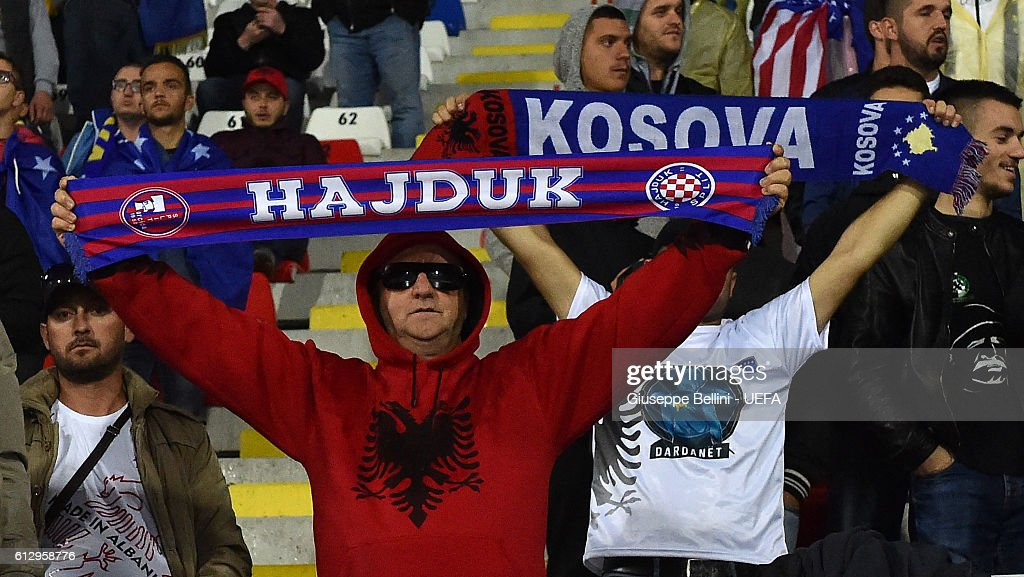 Fans of Kosovo and Croatia prior the FIFA 2018 World Cup Qualifier between Kosovo and Croatia at Loro Borici Stadium on October 6, 2016 in Shkoder, Albania.