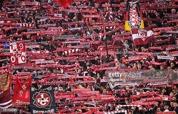 Fans of Lautern are seen during the Second Bundesliga match between 1FC Kaiserslautern and Karlsruher SC at the FritzWalterStadion on January 29 2007...