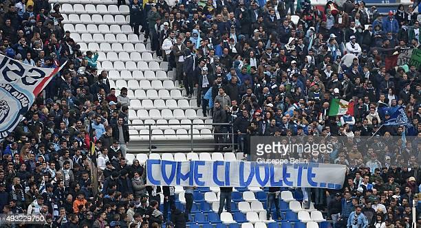 Fans of Lazio before the Serie A match between US Sassuolo Calcio and SS Lazio at Mapei Stadium Citta del Tricolore on October 18 2015 in Reggio...