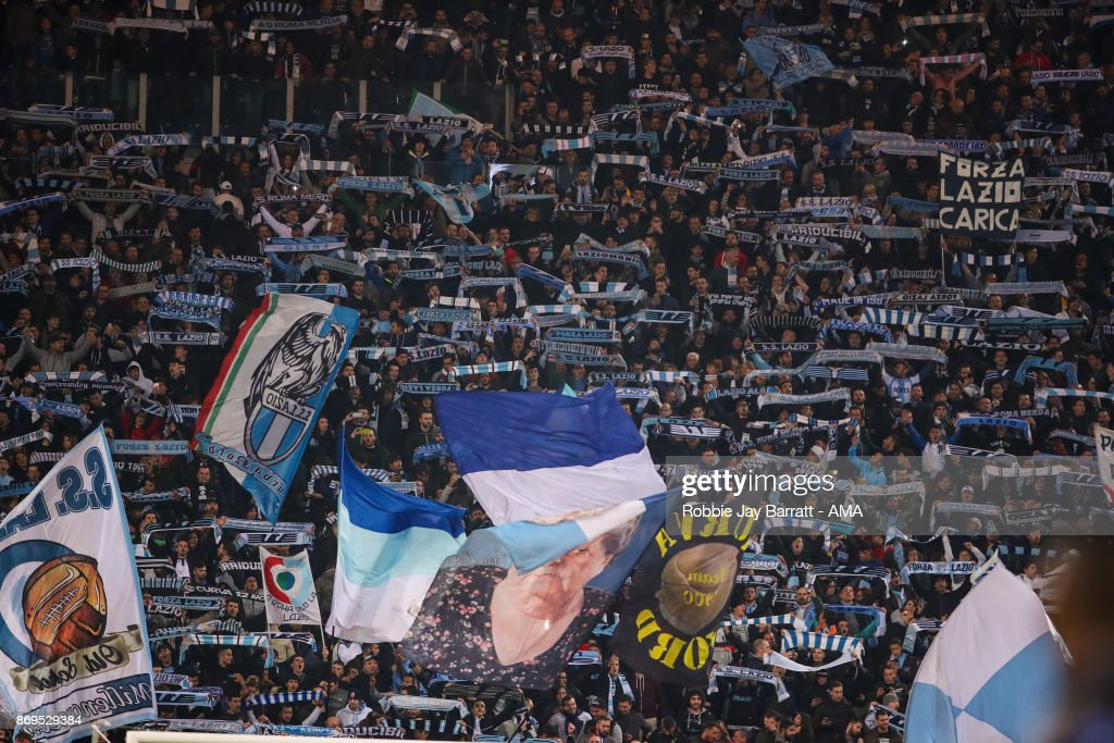 Fans of Lazio during the UEFA Europa League group K match between Lazio Roma and OGC Nice at Stadio Olimpico on November 2, 2017 in Rome, Italy.
