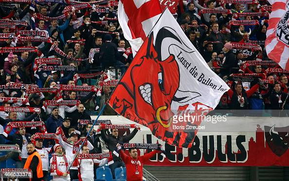 Fans of Leipzig celebrate during the Second Bundesliga match between RB Leipzig and Fortuna Duesseldorf at Red Bull Arena on March 16 2015 in Leipzig...