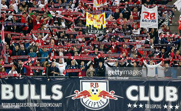 Fans of Leipzig celebrate prior to the Second Bundesliga match between RB Leipzig and 1 FC Kaiserslautern at Red Bull Arena on November 3 2014 in...