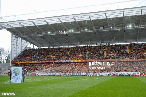 Fans of Lens during the French Ligue 2 match between Lens and Brest at Stade Felix Bollaert on April 1 2017 in Lens France