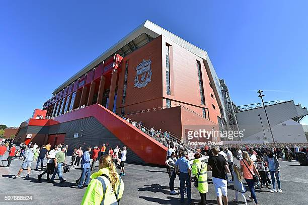 Fans of Liverpool at the main stand test event at Anfield on August 29 2016 in Liverpool England