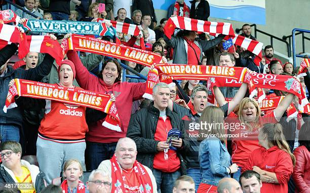 Fans of Liverpool Ladies during the Everton Ladies v Liverpool Ladies Continental Cup game at Select Security Stadium on July 23 2015 in Widnes...