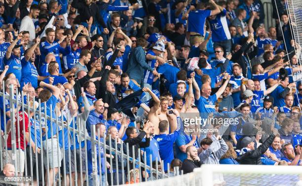 Fans of Lyngby Boldklub celebrates after scoring their third goal during the Danish Alka Superliga match between FC Midtjylland and Lyngby BK at MCH...