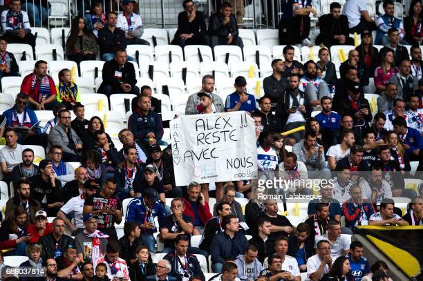 fans of Lyon banner for Alexandre Lacazette before the Ligue 1 match between Olympique Lyonnais and OGC Nice at Stade des Lumieres on May 20 2017 in...