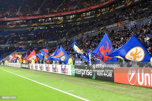 Fans of Lyon during the Europa League match between Lyon and Everton at Groupama Stadium on November 2 2017 in Lyon France