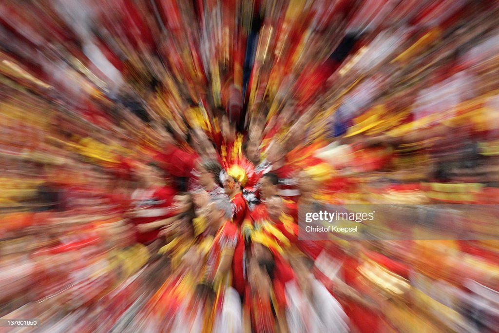 fans of Macedonia celebrate during the Men's European Handball Championship second round group one match between Poland and Macedonia at Beogradska Arena on January 23, 2012 in Belgrade, Serbia.