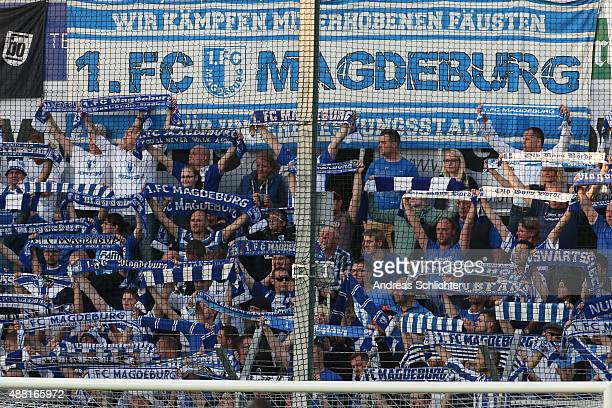 Fans of Magdeburg during the Third League match between Stuttgarter Kickers and 1 FC Magdeburg at GAZIStadion on September 11 2015 in Stuttgart...
