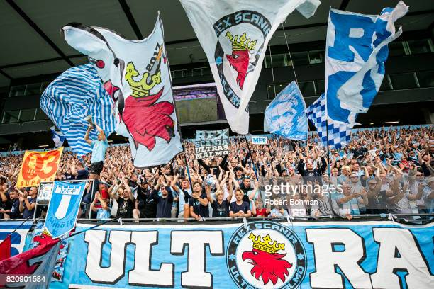 Fans of Malmo FF celebrates after the Allsvenskan match between Malmo FF and Jonkopings Sodra IF at Swedbank Stadion on July 22 2017 in Malmo Sweden