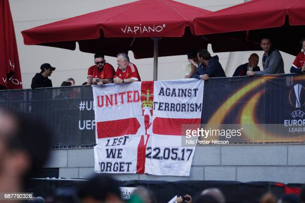 Fans of Manchester United during the UEFA Europa League Final between Ajax and Manchester United at Friends Arena on May 24 2017 in Stockholm Sweden