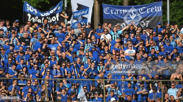 Fans of Mannheim are seen during the Relegation Regionalliga Play Off second leg match at Hensch Arena on May 31 2017 in Meppen Germany