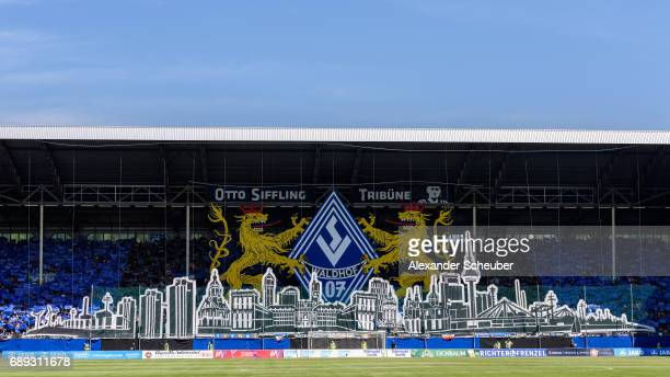 Fans of Mannheim show a choreographie during the Third League playoff leg one match between Waldhof Mannheim and SV Meppen on May 28 2017 in Mannheim...