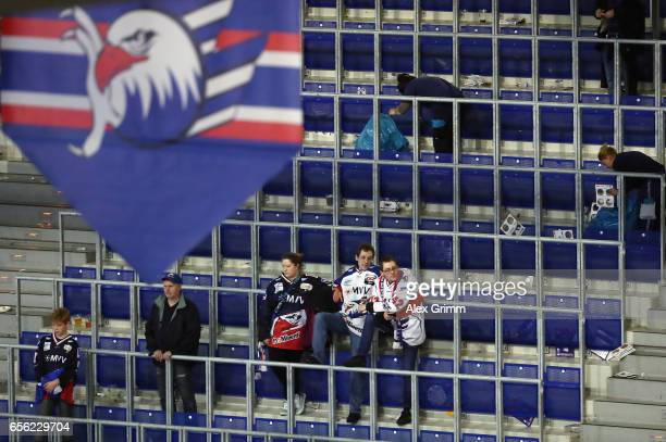 Fans of Mannheim stay in the stand after their team lost the DEL Playoffs quarter finals Game 7 between Adler Mannheim and Eisbareren Berlin at SAP...