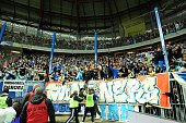 Fans of Marseille during the semifinal French Cup between Sochaux and Olympique de Marseille at Stade Auguste Bonal on April 20 2016 in Montbeliard...