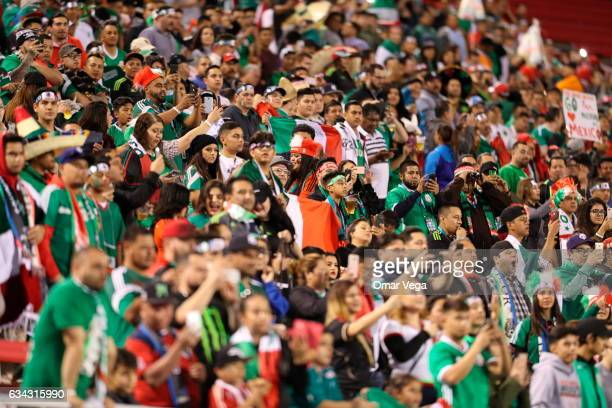 Fans of Mexico cheer in the stands prior an International Friendly match between Mexico and Iceland at Sam Boyd Stadium on February 08 2017 in Las...