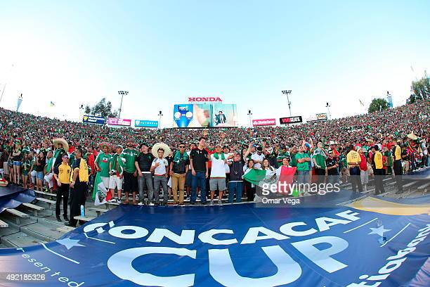 Fans of Mexico cheer prior the 2017 FIFA Confederations Cup Qualifier match between USA and Mexico at Rose Bowl Stadium on October 10 2015 in...