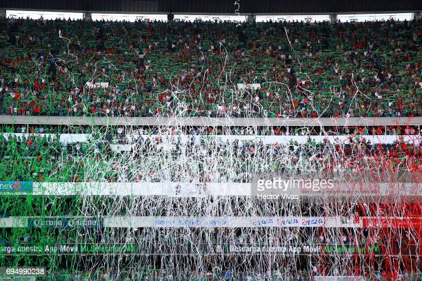 Fans of Mexico cheer their team during the match between Mexico and The United States as part of the FIFA 2018 World Cup Qualifiers at Azteca Stadium...