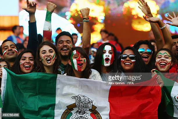 Fans of Mexico enjoy the atmosphere during the FIFA U17 World Cup Chile 2015 Group C match between Mexico and Argentina at Estadio Nelson Oyarzun...