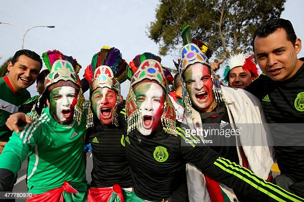 Fans of Mexico enjoy the atmosphere prior the 2015 Copa America Chile Group A match between Mexico and Ecuador at El Teniente Stadium on June 19 2015...