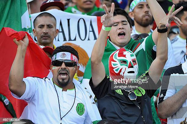 Fans of Mexico in the stands before the 2017 FIFA Confederations Cup Qualifier at Rose Bowl on October 10 2015 in Pasadena California