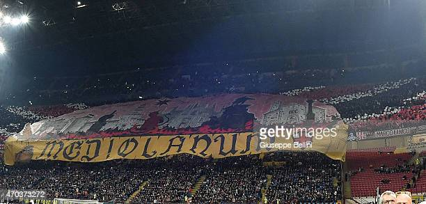 Fans of Milan before the Serie A match between FC Internazionale Milano and AC Milan at Stadio Giuseppe Meazza on April 19 2015 in Milan Italy