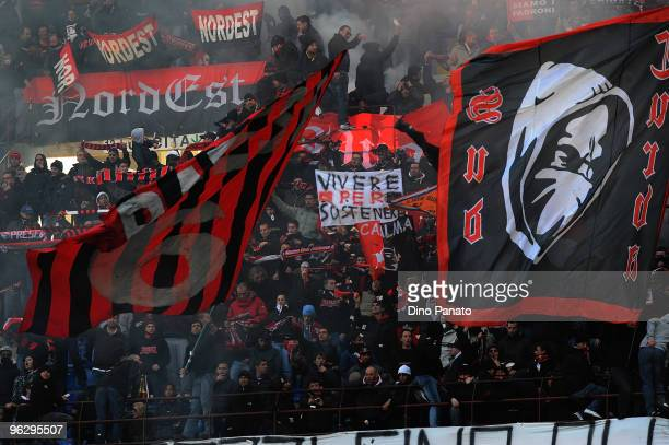 Fans of Milan during the Serie A match between AC Milan and Livorno at Stadio Giuseppe Meazza on January 31 2010 in Milan Italy