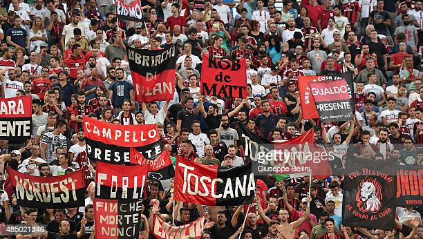 Fans of Milan during the Serie A match between ACF Fiorentina and AC Milan at Stadio Artemio Franchi on August 23 2015 in Florence Italy