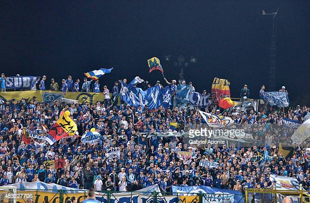 Fans of Millonarios cheer for their team during a match between Patriotas FC and Millonarios as part of Liga Aguila II 2015 at Metropolitano de Techo...