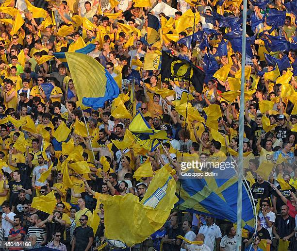Fans of Modena during the Serie B playoff match between Modena FC and AC Cesena at Alberto Braglia Stadium on June 8 2014 in Modena Italy