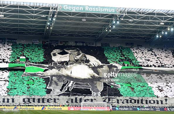 Fans of Moenchengladbach are seen prior to the Bundesliga match between Borussia Moenchengladbach and 1 FC Koeln at Borussia Park Stadium on February...