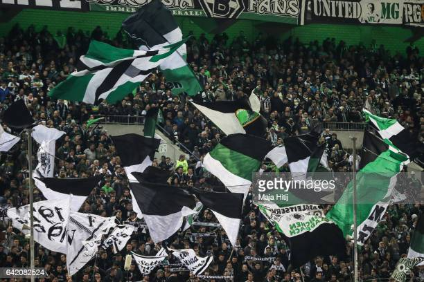 Fans of Moenchengladbach prior the UEFA Europa League Round of 32 first leg match between Borussia Moenchengladbach and ACF Fiorentina at Borussia...