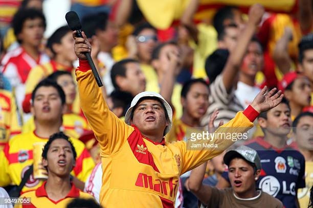 Fans of Monarcas Morelia celebrate goal during their quarterfinals match against Santos Laguna as part of the 2009 Opening tournament in the Mexican...