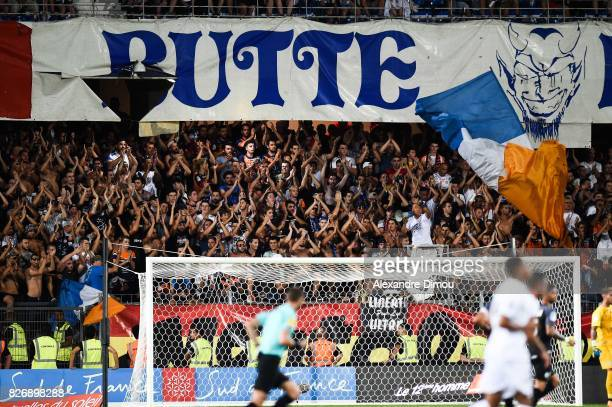 Fans of Montpellier during the Ligue 1 match between Montpellier Herault SC and SM Caen at Stade de la Mosson on August 5 2017 in Montpellier
