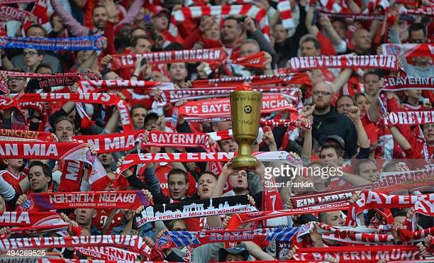 Fans of Muenchen during the DFB Pokal Final between Borussia Dortmund and Bayern Muenchen at Olympiastadion on May 17 2014 in Berlin Germany