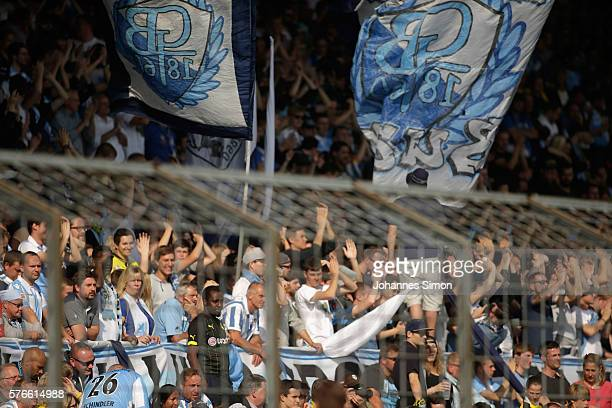 Fans of Muenchen during the friendly match between TSV 1860 Muenchen and BVB Borussia Dortmund at Stadion an der Gruenwalder Strasse on July 16 2016...