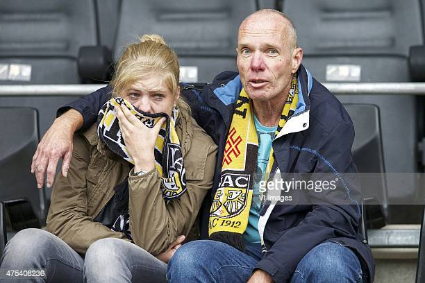 fans of NAC Breda supporters during the playoffs promotion/relegation Final match between NAC Breda and Roda JC Kerkrade at the Rat Verlegh stadium...