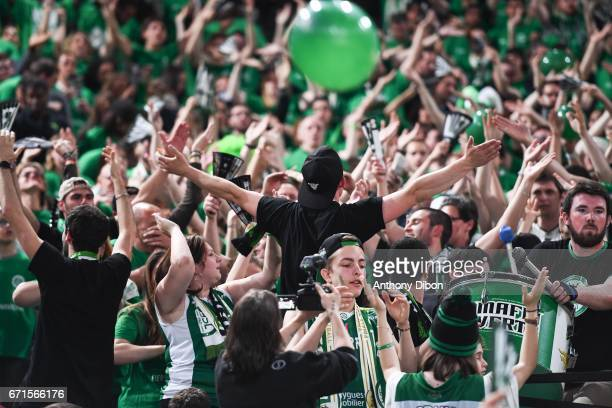 Fans of Nanterre during the Final of the French Cup between Le Mans and JSF Nanterre at AccorHotels Arena on April 22 2017 in Paris France